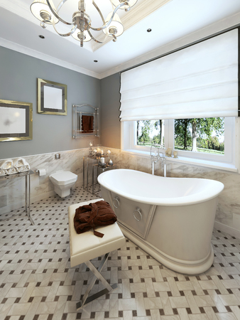 niches: Bright bathroom classic design. 3d render