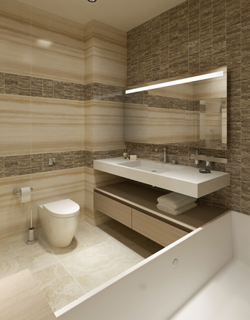 bathroom tile: Contemporary Bathroom Design. 3d render