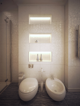 sconces: toilet and bidet in modern style. 3d visualization