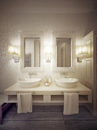 bathroom: Un moderno cuarto de baño con dos lavabos de consola en blanco y beige. 3d.