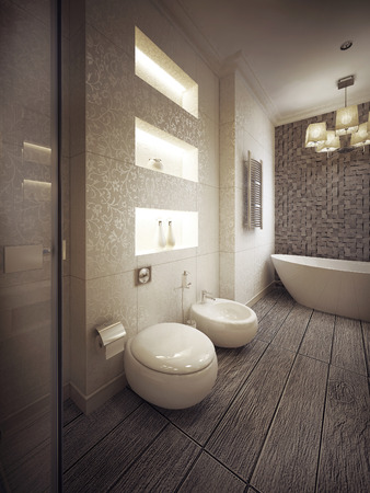 a toilet stool: bathroom in modern style. 3d visualization