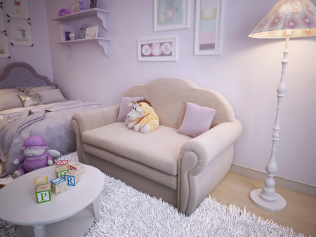 classical style: Childrens classical style sofa. 3d visualization Stock Photo