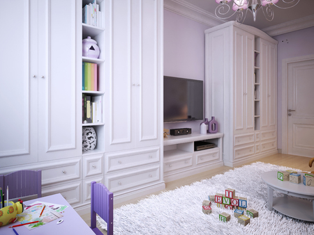 carpet and flooring: childrens room for girls classic style. 3d visualization Stock Photo