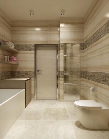 유행: 욕실 현대적인 디자인. 3d 렌더링