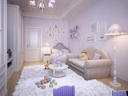 room decor: Childrens bedroom for the girl in a classical style. 3d render.
