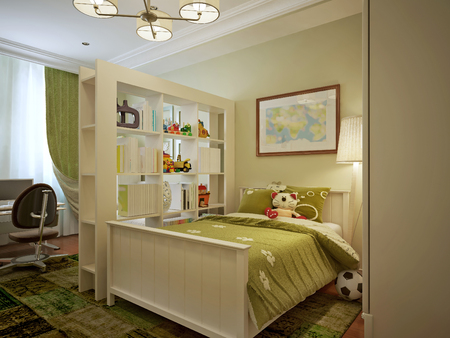 room decor: Modern childrens room for a boy, green, and yellow tones. 3d render.
