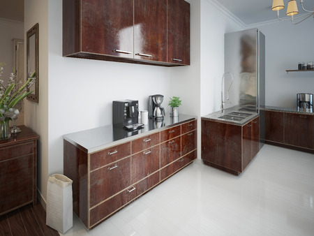 kitchen furniture: Contemporary kitchen with brown wooden furniture. 3d render.