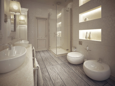 Modern bathroom with toilet and bidet with shelves above them. 3d render.