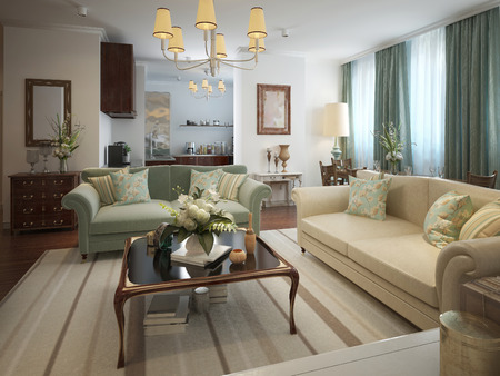 neoclassical: Living room in a neoclassical style with warm colors. In beige, olive and turquoise. 3d render Stock Photo