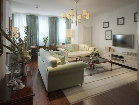 leather sofa: Romantic living room in the Romanesque style. 3d render.
