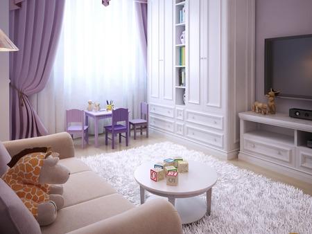 Kinderkamer in een moderne stijl 3d afbeeldingen royalty vrije foto