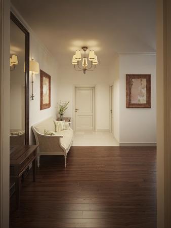 silla de madera: Hall de entrada con bancos y un espejo en un estilo clásico. Los tonos beige cálidos. 3d.