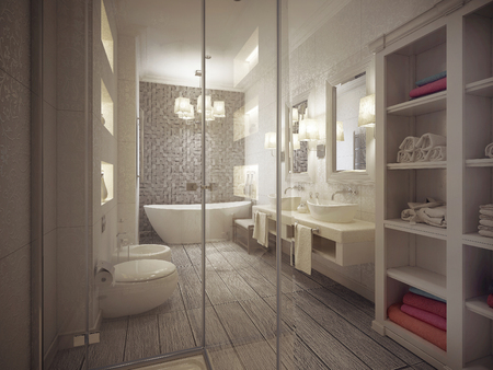 bathroom in classic style. 3d visualization Stock Photo