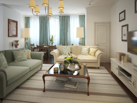 living style: Living room in a classic style. 3d model