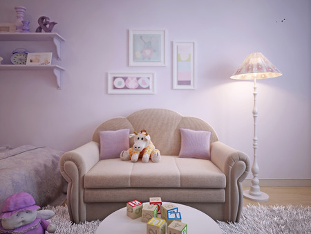 room decor: Childrens classical style sofa. 3d visualization Stock Photo