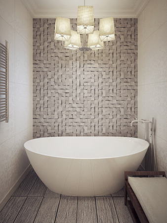 wood panel: Bathtub in a modern bathroom. 3d render. Stock Photo