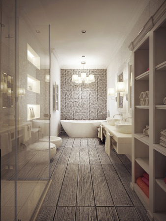 Bathroom in Provencal style with patterned tiles in beige tones. 3d render.