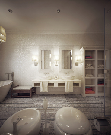 sconces: bathroom in modern style. 3d visualization