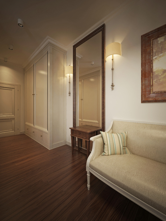 wood flooring: Hall in classic style. 3d model