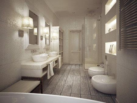 a toilet stool: The bathroom is a classic style with patterned tiles in beige tones. 3d render. Stock Photo