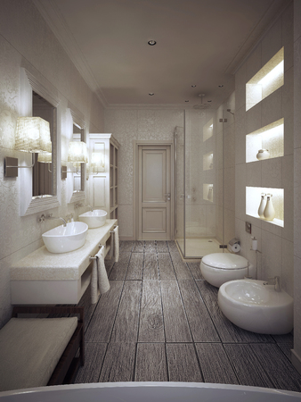 a toilet stool: Bathroom in Provencal style in beige and white tones. 3d render.