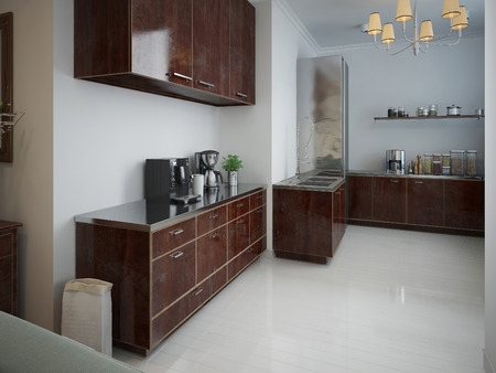 wood furniture: Modern kitchen with wood furniture of brown color. 3d render.