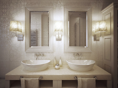 linens: A modern bathroom with two sinks console in white and beige. 3d render. Stock Photo