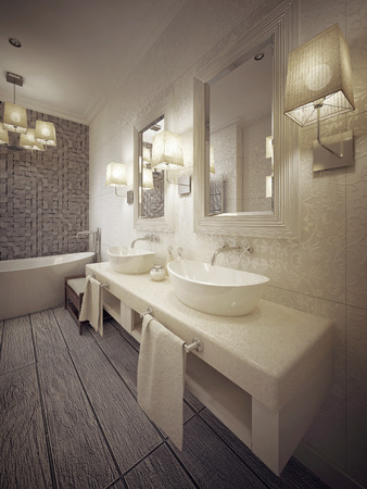 a toilet stool: A modern bathroom with two sinks console in white and beige. 3d render. Stock Photo