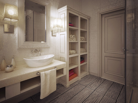 a toilet stool: bathroom in classic style. 3d visualization Stock Photo