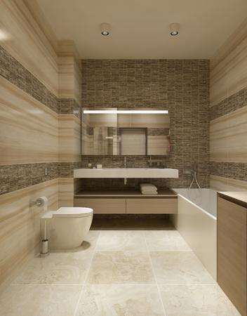 interior accessories: Bathroom modern design. 3d render
