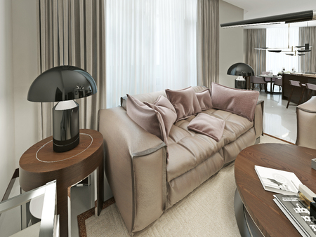 nightstands: Comfortable leather sofa in a modern style. With Nightstands and trendy desktop lampasmi black. 3d render.