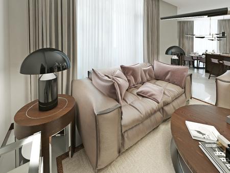 nightstands: Comfortable leather sofa in a modern style. With Nightstands and trendy desktop lampasmi black. 3d render.