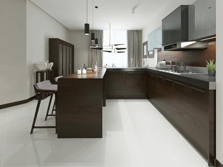 Interieur van de moderne keuken met bar en barkrukken. Keukenmeubelen hout met metalen inzetstukken in bruine en grijze tinten. 3d render.