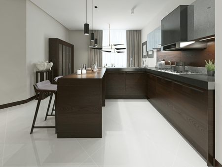 living room: Interior of modern kitchen with bar and bar stools. Kitchen furniture wood with metal inserts in brown and gray tones. 3d render. Stock Photo