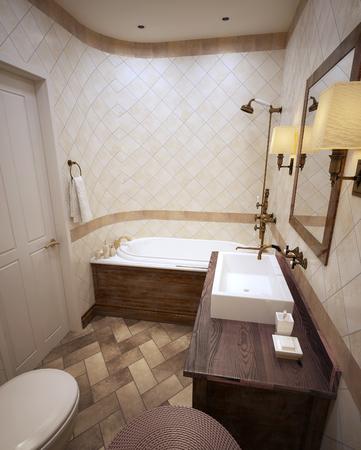 muebles de madera: Baño clásico en tonos beige con muebles de madera de color marrón. 3d.