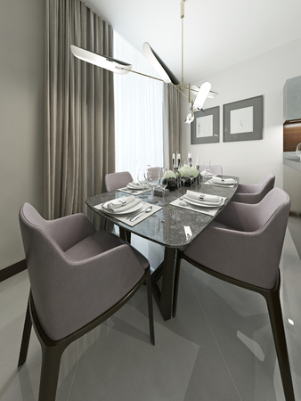 Serving table in the dining room with soft chairs. With modern chandelier and works on the walls. 3d render.