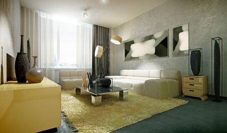 lamp light: modern interior living room, 3d render