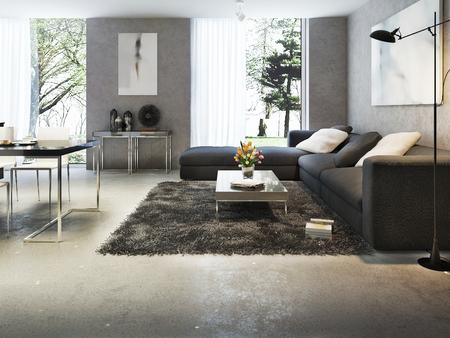 Hormigón: Interior moderno de la sala de estar, imágenes 3d