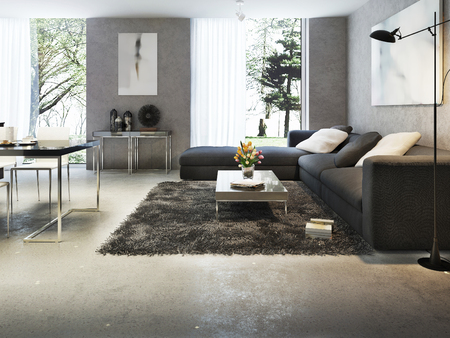 living room design: Modern interior of living room, 3d images Stock Photo