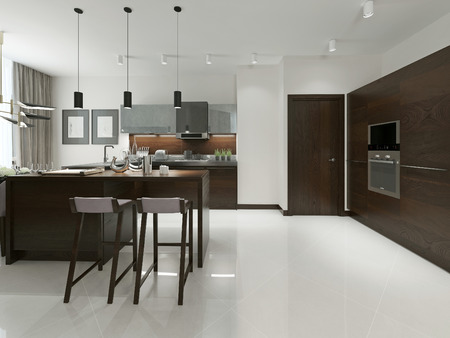 interior room: Interior of modern kitchen with bar and bar stools. Kitchen furniture wood with metal inserts in brown and gray tones. 3d render. Stock Photo