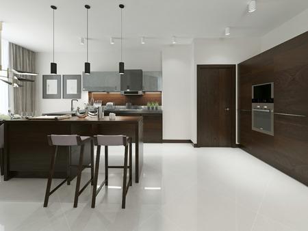 ceramiki: Wnętrze nowoczesnej kuchni z barem i taborety. Drewna meble kuchenne z metalowymi wstawkami w odcieniach brązu i szarości. Renderowania 3D.