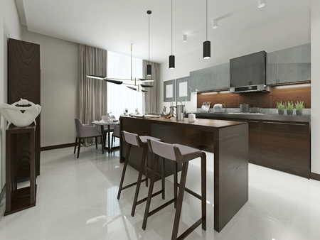 Interior Contemporary kitchen with bar and bar stools. Kitchen furniture wood with metal inserts in brown and gray tones. 3d render. Фото со стока