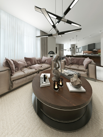 contemporary living room: Living room in a Contemporary Style. 3d visualization Stock Photo