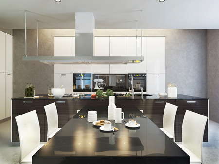 wenge: Kitchen contemporary style, 3d images