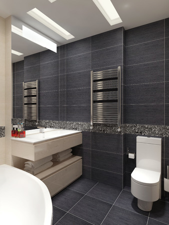 contemporary style: Master bathroom in contemporary style. 3d visualization