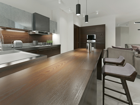 Interior Contemporary Kitchen With Bar And Bar Stools. Kitchen Furniture  Wood With Metal Inserts In