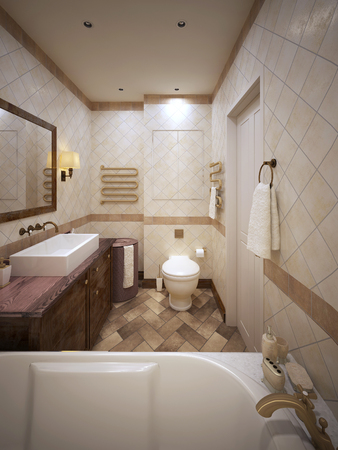 heated: Bathroom in the style of Provence. 3d visualization