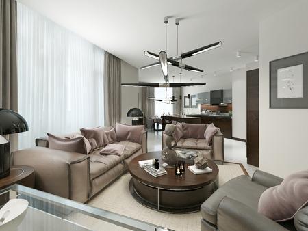 Mit Wohnzimmer, Küche Und Esszimmer. Die Warmen Braun  Und Beigetönen.