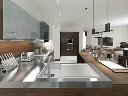 Contemporary kitchen with metal worktop. Furniture made of wood and metal elements. Brown and gray. 3d render.