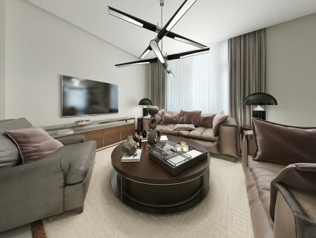 room decor: Modern living room with seating and Media Storage. The warm brown and beige tones. 3d render. Stock Photo